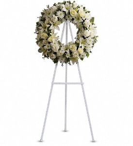Serenity Wreath in Bakersfield CA, White Oaks Florist