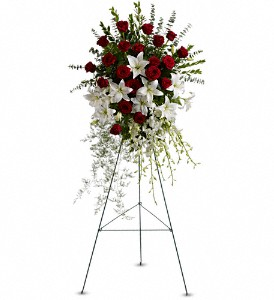 Lily and Rose Tribute Spray in Mount Morris MI, June's Floral Company & Fruit Bouquets