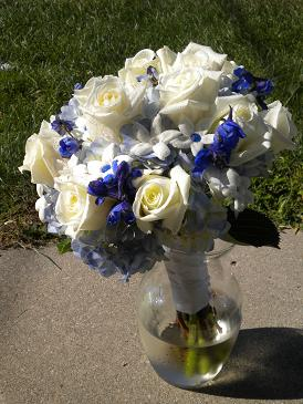 blue and white bridal bouquet in Bensenville IL, The Village Flower Shop