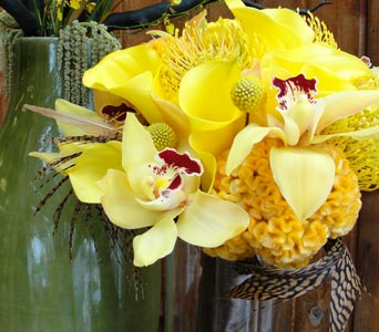 Yellow Tropical Bouquet in Baltimore MD, The Flower Cart, Inc