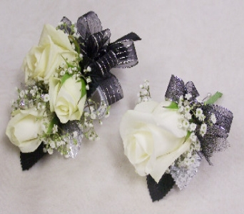 White Rose Corsage with Bouton in Mesa AZ, Watson Flower Shops