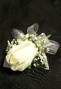 Single White Rose Boutonniere in Mesa AZ, Watson Flower Shops