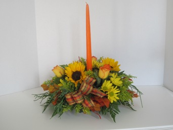 single candle  thanksgiving centerpiece in Chalfont PA, Bonnie's Flowers