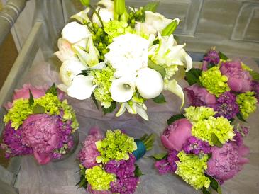 Green and Purples in Bensenville IL, The Village Flower Shop
