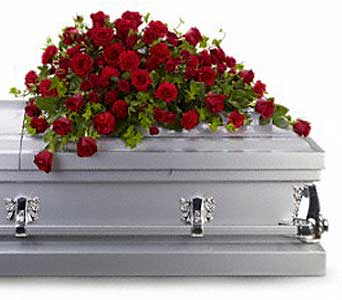 Red Rose Reverence Casket Spray in Bethesda MD, Suburban Florist