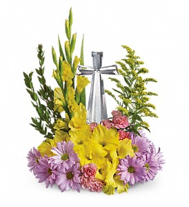 Teleflora's Crystal Cross Bouquet in The Woodlands TX, Botanical Flowers and Gifts