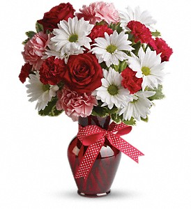 Hugs and Kisses Bouquet with Red Roses in Edison NJ, Vaseful