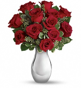 Teleflora's True Romance Bouquet with Red Roses in flower shops MD, Flowers on Base