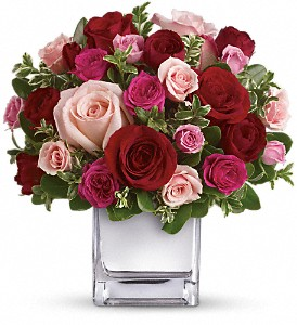 Teleflora's Love Medley Bouquet with Red Roses in Murrells Inlet SC, Callas in the Inlet