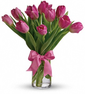 Precious Pink Tulips in Holladay UT, Brown Floral