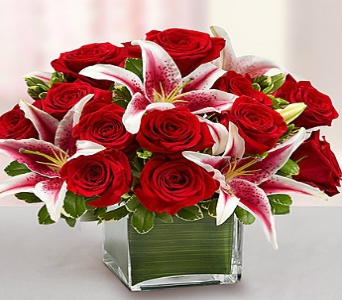Red Rose & Lily Cube Bouquet in El Cajon CA, Conroy's