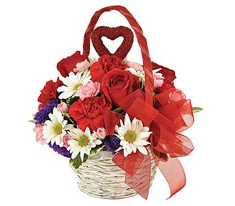 Basket of Flowers & Hearts in Sequim WA, Sofie's Florist Inc.
