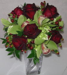 Cymbidium Orchid and Rose Clutch in Waukegan IL, Larsen Florist