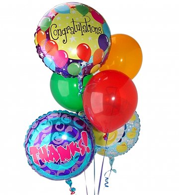 3 Mylar Balloons & 3 Latex Balloons in Arlington VA, Twin Towers Florist