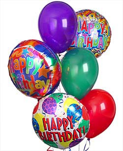 3 Birthday Mylar Balloons & 3 Latex Balloons in Arlington VA, Twin Towers Florist