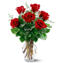 6 Red Roses Vased in Big Rapids, Cadillac, Reed City and Canadian Lakes MI, Patterson's Flowers, Inc.
