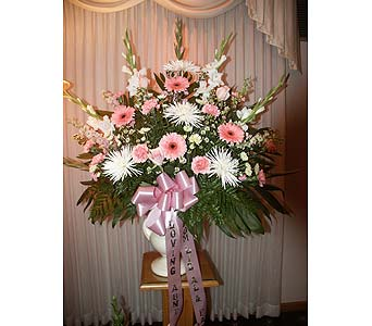 Sympathy End Basket-Pink and White in Chicago IL, Soukal Floral Co. & Greenhouses