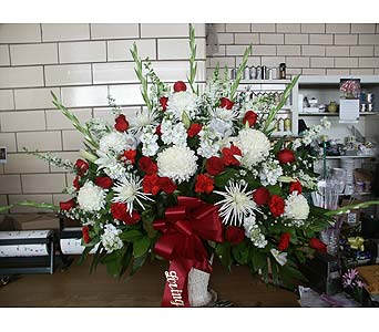 Sympathy Basket-Red and White in Chicago IL, Soukal Floral Co. & Greenhouses