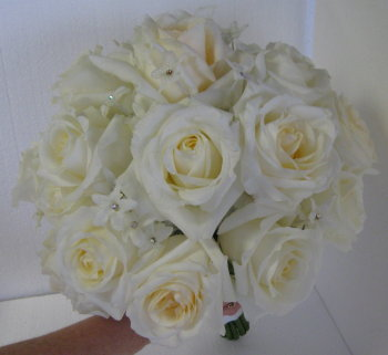 Jeweled Stephanotis and Rose Bouquet in Waukegan IL, Larsen Florist
