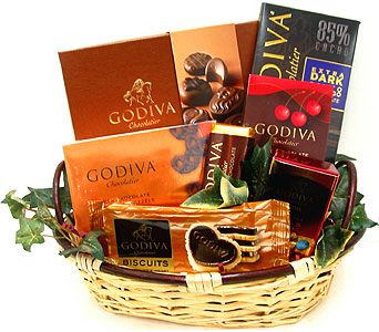 GF151 - Godiva Chocolate Gift Basket in Oklahoma City OK, Array of Flowers & Gifts