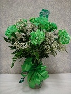 Dozen Green Carnations in Chicago IL, The Flower Cottage
