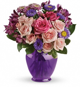 Teleflora's Purple Medley Bouquet with Roses in Northridge CA, Flower World 'N Gift