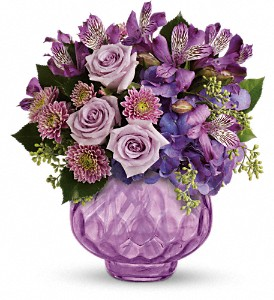 Teleflora's Lush and Lavender with Roses in Columbia Falls MT, Glacier Wallflower & Gifts