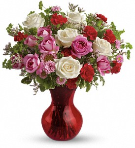Teleflora's Splendid in Red Bouquet with Roses in Peoria IL, Flowers & Friends Florist