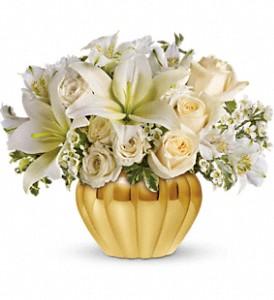 Teleflora's Touch of Gold in flower shops MD, Flowers on Base