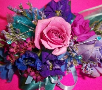 MIXED BLUE,PINK & PURPLE WRISTLET  in Hagerstown MD, Chas. A. Gibney Florist & Greenhouse
