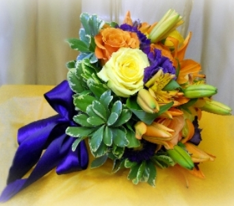 Orange and Purple Boquet in Staten Island NY, Kitty's and Family Florist Inc.