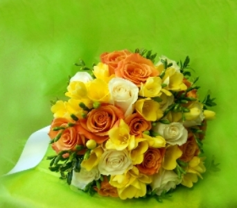 Yellow and Orange Orchid Boquet in Staten Island NY, Kitty's and Family Florist Inc.