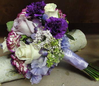 Purple and White Bouquet in Baltimore MD, The Flower Cart, Inc