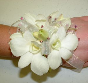 White Dendro Wristlet in Salisbury MD, Kitty's Flowers