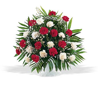 Red & White Carnation Sympathy Mache in Cohasset MA, ExoticFlowers.biz