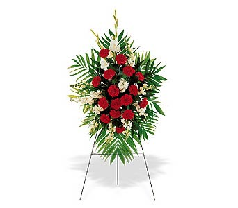Red & White Standing Spray in Cohasset MA, ExoticFlowers.biz