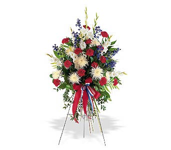Patriotic Sympathy Floral Standing Spray in Cohasset MA, ExoticFlowers.biz