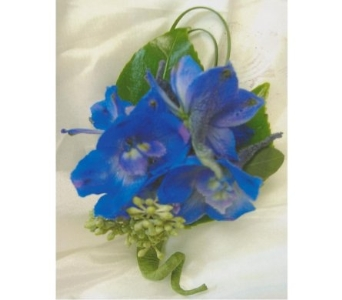 Blue Delphinium Boutonniere in West Bloomfield MI, Happiness is...Flowers & Gifts