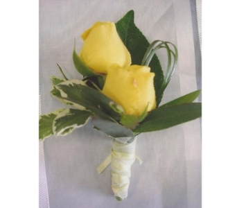 Yellow Sweethear Roses Boutonniere in West Bloomfield MI, Happiness is...Flowers & Gifts