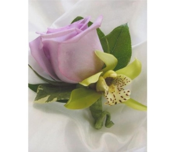 Rose and Miniature Green Cymbidium Boutonniere in West Bloomfield MI, Happiness is...Flowers & Gifts
