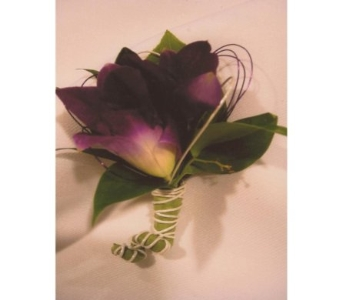 Solid Purple Dendrobium Orchid Boutonniere in West Bloomfield MI, Happiness is...Flowers & Gifts