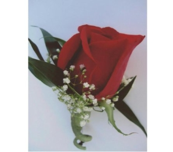 Red Rose with Baby's Breath Boutonniere in West Bloomfield MI, Happiness is...Flowers & Gifts