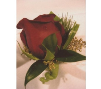 Red Rose with Gold Seeded Eucalyptus Berry Boutonn in West Bloomfield MI, Happiness is...Flowers & Gifts