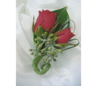 Red Mini Rose and Seeded Eucalyptus Berry in West Bloomfield MI, Happiness is...Flowers & Gifts