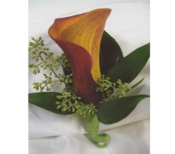 Flame Mini Calla Lily Boutonniere in West Bloomfield MI, Happiness is...Flowers & Gifts