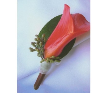 Orange Mini Calla Lily Boutonniere in West Bloomfield MI, Happiness is...Flowers & Gifts