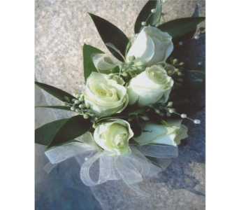 White Mini Rose Corsage (Wrist or Pin) in West Bloomfield MI, Happiness is...Flowers & Gifts