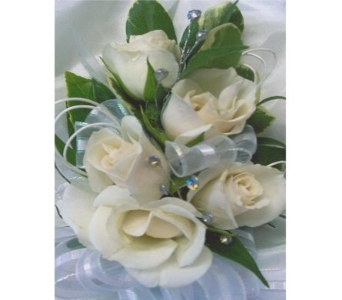 White Sweetheart Roses with Rhinestones Corsage in West Bloomfield MI, Happiness is...Flowers & Gifts