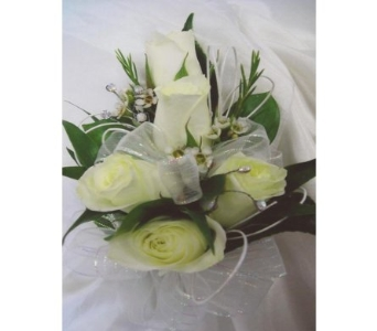 White Mini Roses with Rhinestones Corsage in West Bloomfield MI, Happiness is...Flowers & Gifts