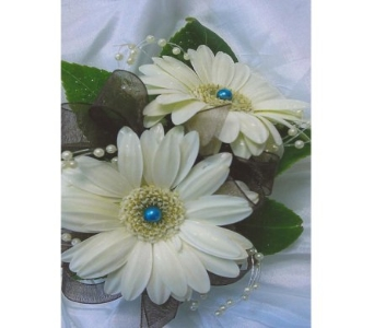 Gerbera Daisies with Pearl Spray Corsage in West Bloomfield MI, Happiness is...Flowers & Gifts
